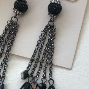 m. haskell Jewelry - NWT M. Haskell black beads and gunmetal earrings